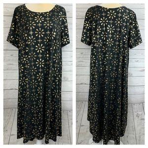 LulaRoe Elegant Carly Black & Gold Hi-Low Dress